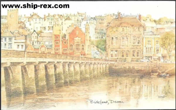 Bideford, from David Skipp water-colour, postcard